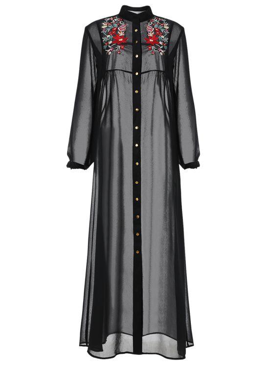 Embroidered Sheer Maxi Shirt Dress - BLACK L