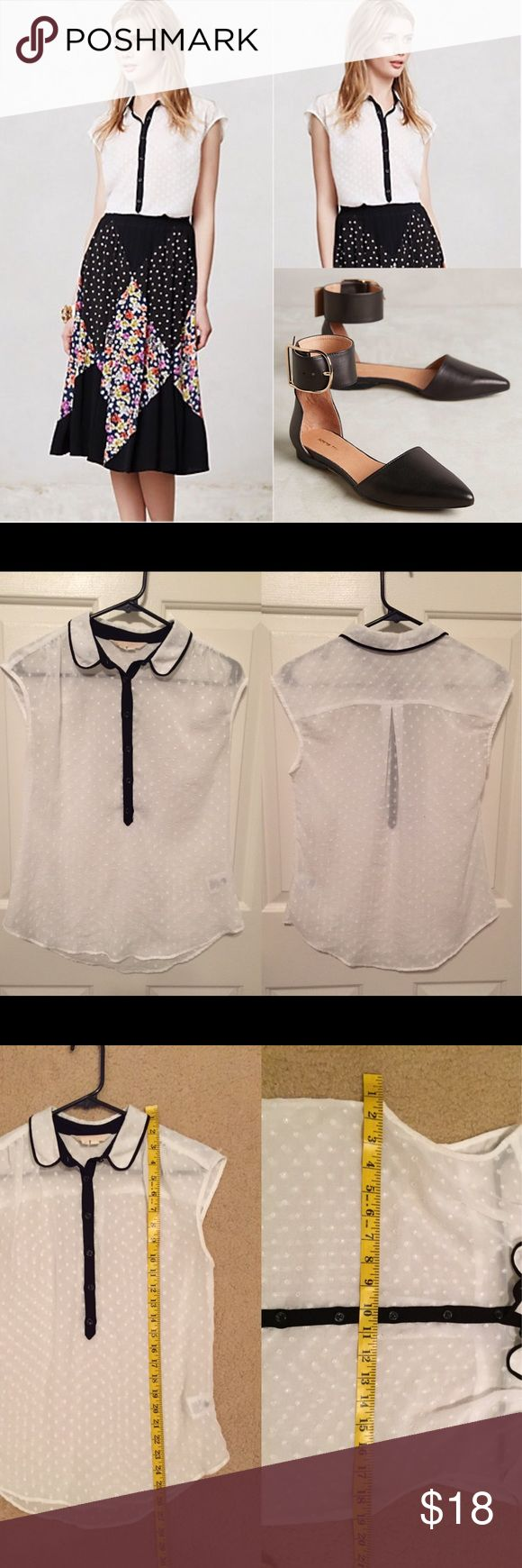 ☕️Anthropologie Swiss dot blouse By edme & esyllte. Gently worn. No known flaws. ❌trades or off-site transactions.I offer a variety of sizes in my closet therefore I do NOT model items.•I will counteroffer with the best value I can offer•I have 2 littles &🚑 an illness that sometimes requires serious medical attention and alot of hospital visits.📬Sometimes shipping takes a little longer because of my illness but usually I get it out within 2 days.Thank you for shopping my closet😘…