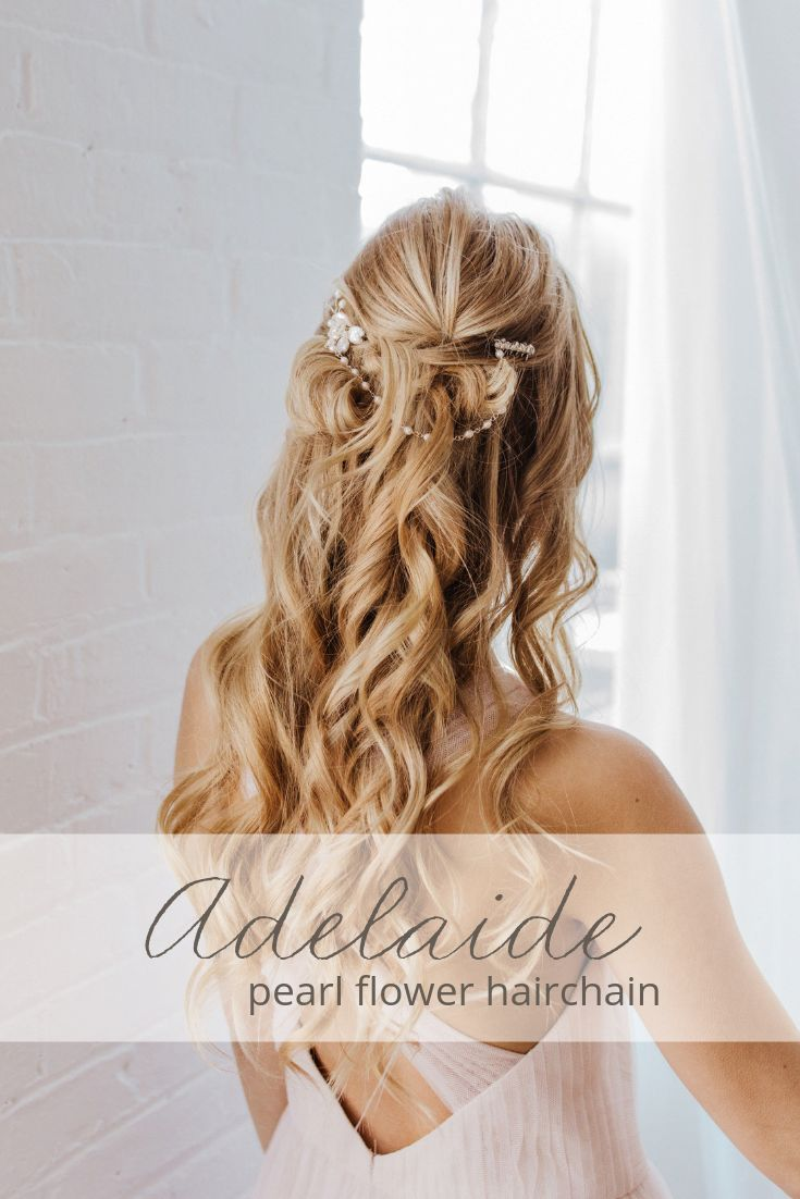 Handcrafted with freshwater pearls and Swarovski crystals, the Adelaide hair chain is perfect for the romantic bride. Add some elegance to a bridal up