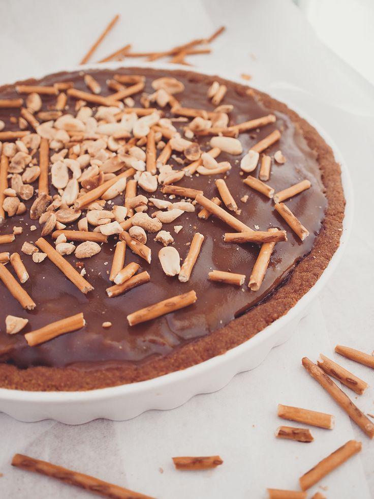 Peanut butter, chocolate mousse tart with salted caramel / vegan