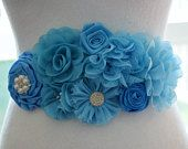 Blue Maternity Belly Sash, Blue Maternity Sash, Blue Baby Shower Sash, Baby Blue Flower Sash, Blue Flower Belt, Custom Maternity Sash