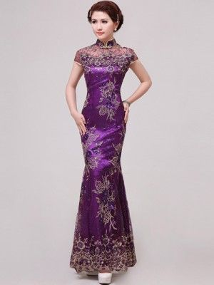 Purple Fishtail Cheongsam / Qipao / Chinese Wedding / Evening Dress