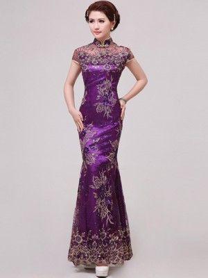 Purple Fishtail Cheongsam / Qipao / Chinese Wedding / Evening Dress