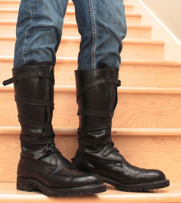 Mens Extra Tall Black Full Leather Dehner Tanker Boots US ...