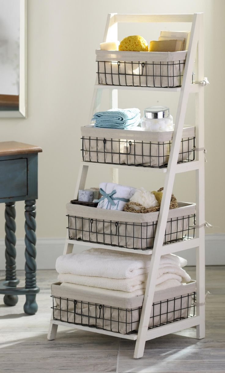 Bathroom wall storage baskets - Cream Wood Metal Ladder Shelf