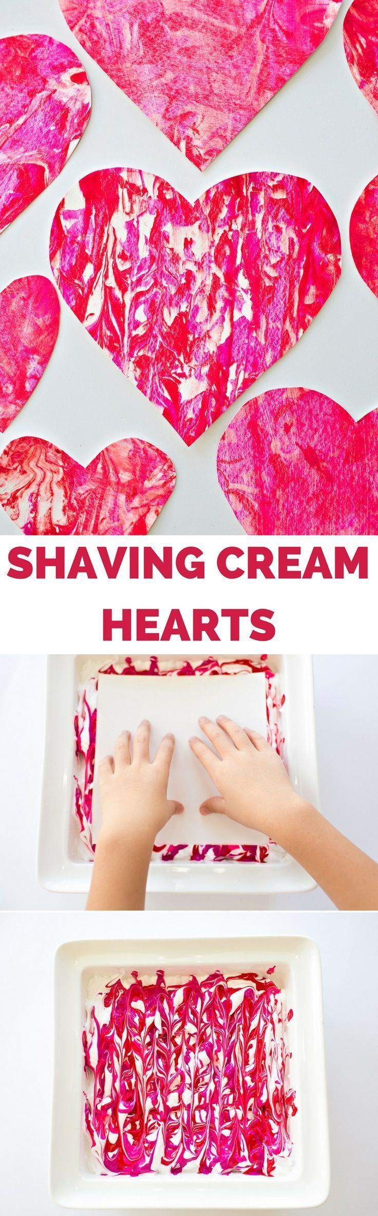 Valentine Shaving Cream Hearts. Fun process art project for kids to make handmade paper valentine prints, cards, garlands and favors!