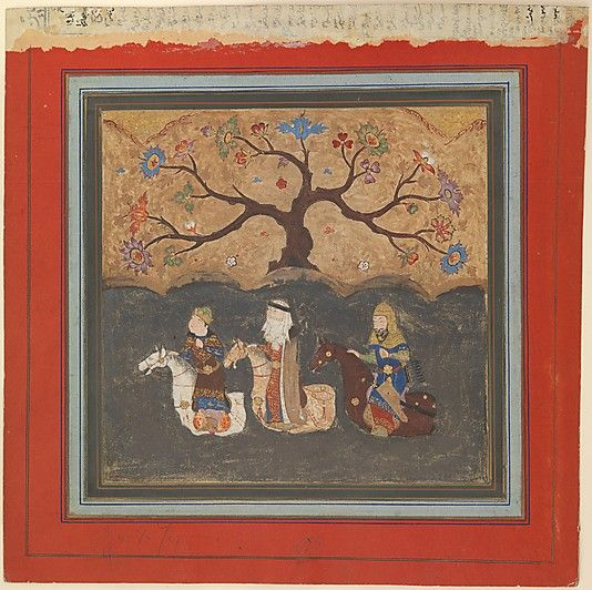 """""""Kai Khusrau, Farangis and Giv Crossing the River Jihun (Oxus)"""", Folio from a Shahnama (Book of Kings) Abu'l Qasim Firdausi  (935–1020) Object Name: Folio from an illustrated manuscript Date: mid-15th century Geography: India Culture: Islamic Dimensions: 7.37 in. high 7.62 in. wide (18.7 cm high 19.4 cm wide)"""