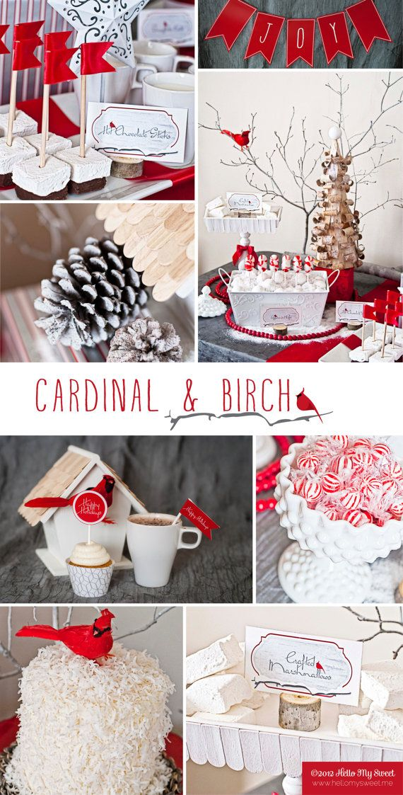 Cardinal Birch Christmas Party - Red White Gray - Printable Decorations - PERSONALIZED SET