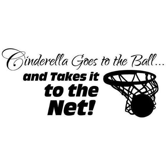 Mädchen Basketball Aufkleber, Cinderella geht an den Ball, Basketball Vinyl Wall Decor, Sport Aufkleber, PR   – Products
