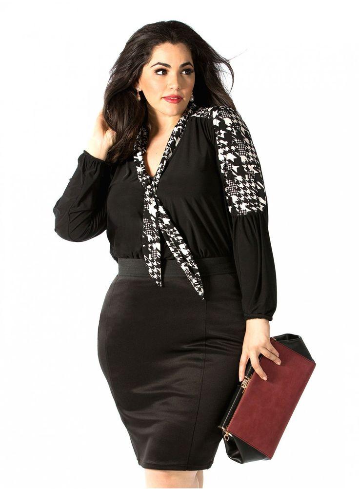 Gianna Blouse in Houndstooth Print Plus Size Model: Nicole Zepeda Agency: MSA Models in NY & LA