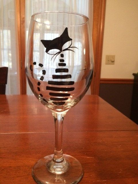 Whimsically lined Black Cat Wine Glass by eracindym on Etsy