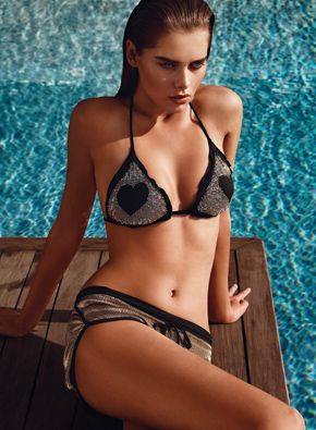TWIN-SET Simona Barbieri: triangles bra with all-over rhinestones and heart design in the centre and tanga with heart logo at the back, two-tone shorts