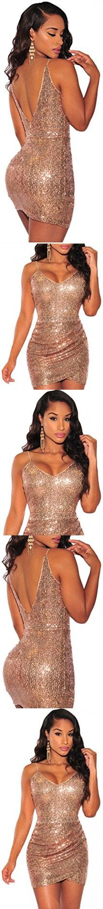 Booty Gal Women's Sexy Rose Gold Sequin Ruched Club Midi Evening Dress(SIZE S)