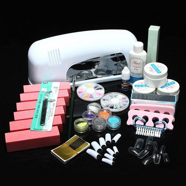 20 best nail art kits images on pinterest acrylic nail art 220v 9watt uv gel lamp dryer 6 nail art manicure tips brush set kit prinsesfo Image collections