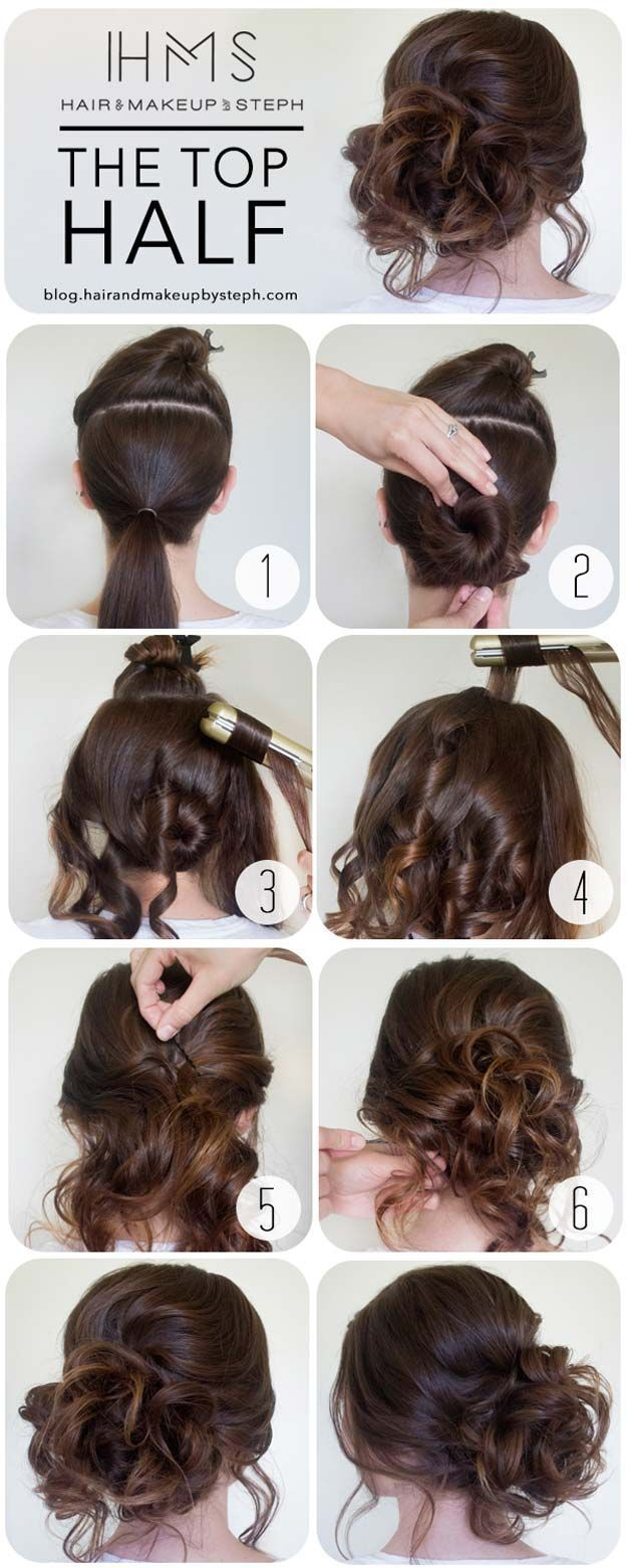Cool and Easy DIY Hairstyles - The Top Half - Quick and Easy Ideas for Back to School Styles for Medium, Short and Long Hair - Fun Tips and Best Step by Step Tutorials for Teens, Prom, Weddings, Special Occasions and Work. Up dos, Braids, Top Knots and Buns, Super Summer Looks http://diyprojectsforteens.com/diy-cool-easy-hairstyles Tap the link now to find the hottest products for Better Beauty!