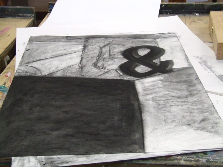 Stage one charcoal drawing. Creating contrasts