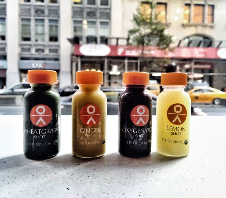 Shots of healthy goodness at Organic Avenue in New York City! #ginger #wheatgrass #lemon #health