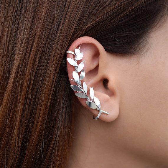 Rose gold earring no piercing earring elf ear cuff earring rose gold ear cuff no piercing ear climber earring non pierced floral jewelry