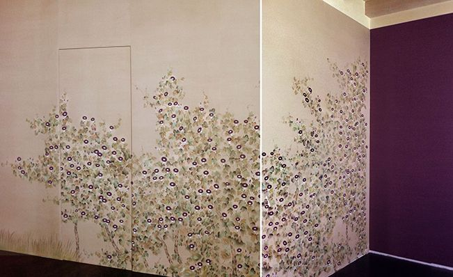 Modern chinoiserie 'Morning Glory' design from Misha wallpaper, hand painted on Sand dyed silk.