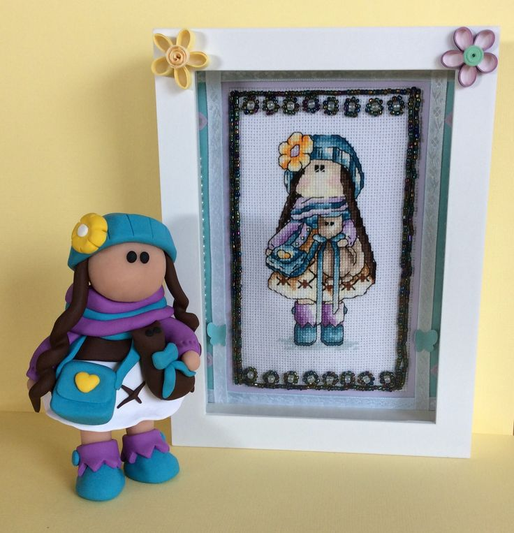 "Team work for this project! ‍+‍ Arwen, ""Art by Arwen"", sculptured this doll figurine  to match my cross stitch doll.  Great work Arwen! I am thrilled! By Karen Miniaci."
