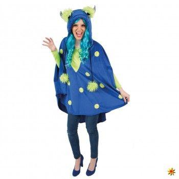 Kostüm Monster, Damen Poncho blau kaufen