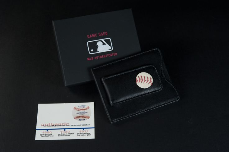 Wallet with authentic MLB game-used baseball.Mlb Games Us, Authentic Mlb, Games Us Baseball