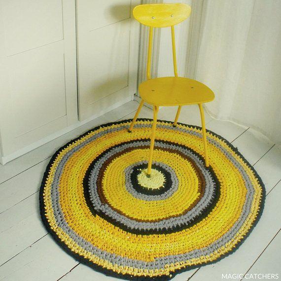 Yellow handmade crochet rug rag rug boho carpeteco rug