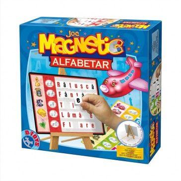 """Jocul educativ """"Alfabetar cu tablă"""" este un joc hazliu și util cu ajutorul căruia copii învață altfabetul. Vor asocia literele cu diverse obiecte ale căror denumiri încep cu litera respectivă. Piesele magnetice pot fi așezate diferit, creând o multitudine de cuvinte. #boardgame #jocurieducative #jucariionline #educational #magneticgame"""