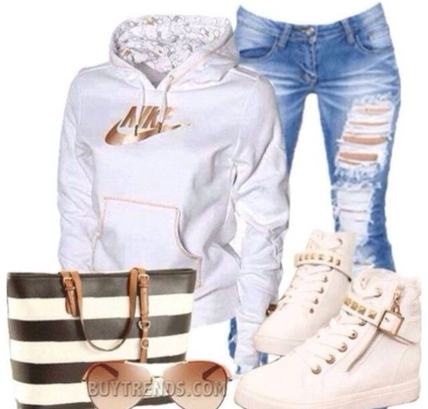 **White nike hoodie**   white studded nike shoes  blue ripped jeans white studded shoes studded jeans jacket sweater shirt bag and bracelets necklace earrings high heel hoodie oldschool