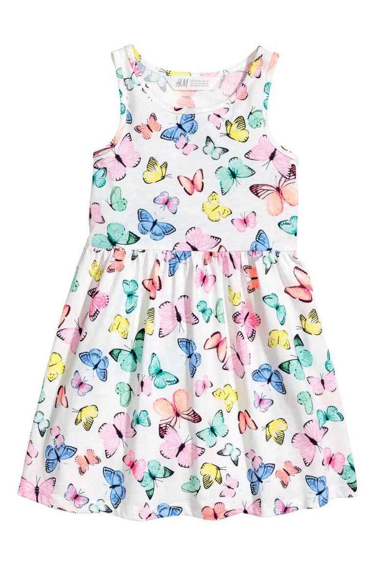 Tricot jurk met dessin - Wit/vlinders - KINDEREN | H&M NL