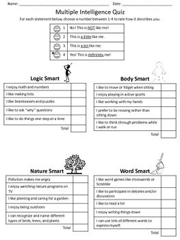This quiz helps students identify how they learn, based on Howard Gardner's Multiple Intelligence theory. Students complete a quiz on each intelligence, then graph their results. There are handouts for each intelligence that students can read and learn what they are good at, ways to help them learn, and possible career choices.