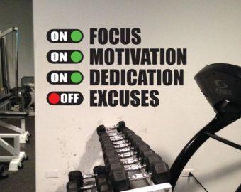 Gimnasio en casa diseño vinilo pared calcomanía motivación.