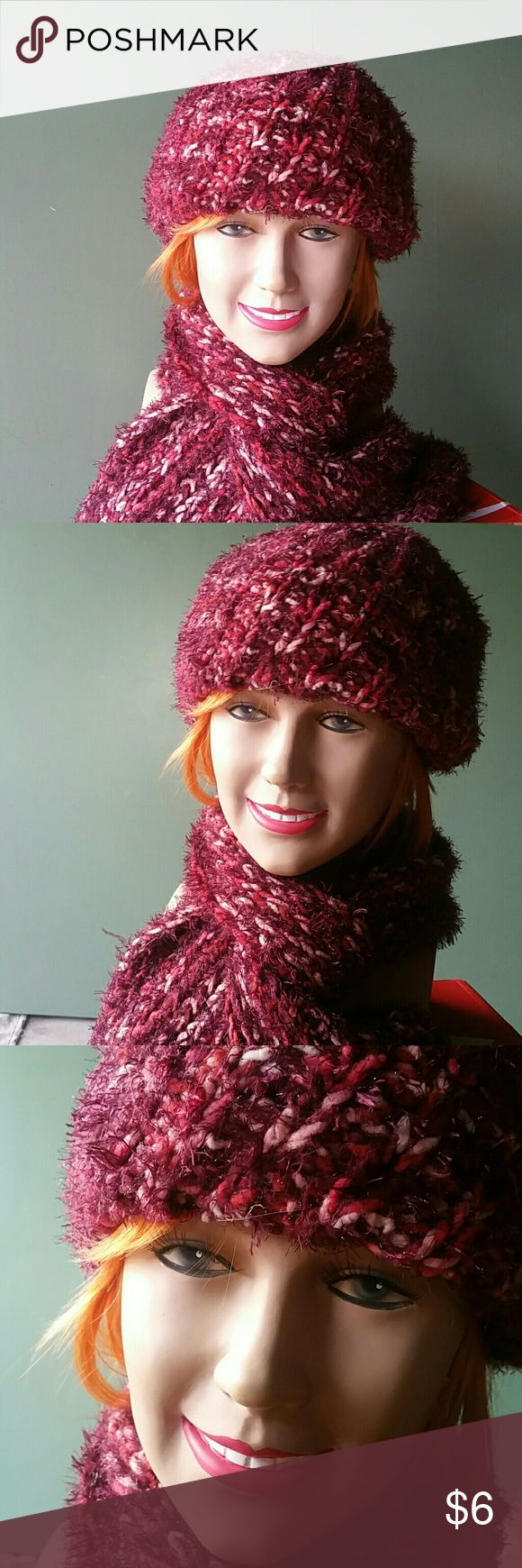 Raspberry Baret Set Soft Cranberry colored Yarn Makes This Beret & Scarf Set Is Both Fashion Forward And Cozy. Was A Gift From A Well Meaning Family Member Who Forgot How Hot California Is Almost Year Round.  Nearly New. Jaclyn Smith Accessories