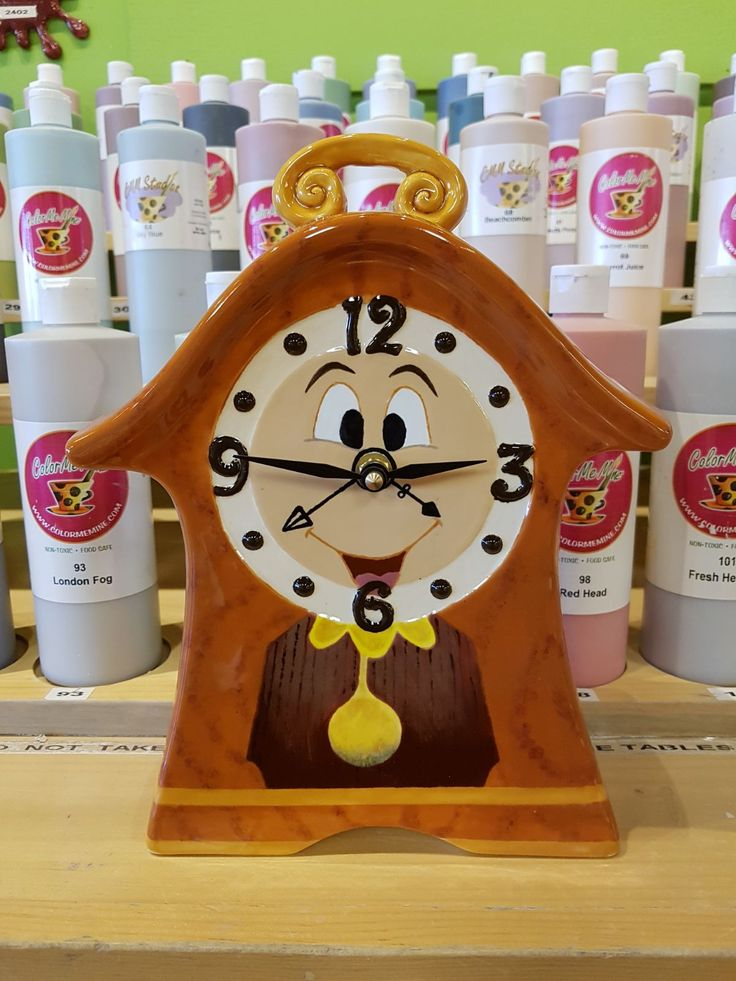 Beauty and the beast clock painted at Color Me Mine pottery studio in Red Deer , Alberta Canada