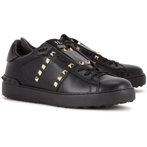 Valentino Rockstud black leather trainers ($625) ❤ liked on Polyvore featuring shoes, sneakers, black shoes, black leather sneakers, leather lace up shoes, black leather shoes and valentino sneakers