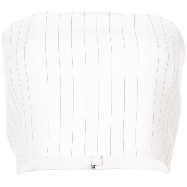 Mugler pinstripe bandeau top ($720) ❤ liked on Polyvore featuring tops, white, white top, white short top, pinstripe top, form fitting tops and strapless bandeau top