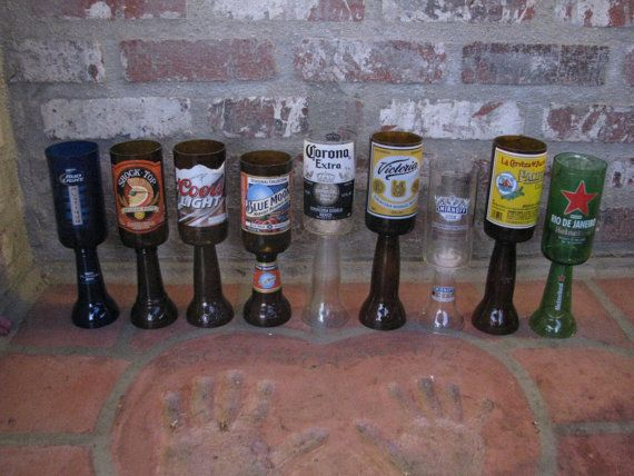 Cut Bottle for Drinking Upcycled Beer by GreatWoodenCreations