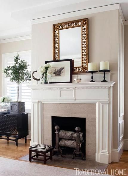Classic Architectural Details On This Mantel Are Painted