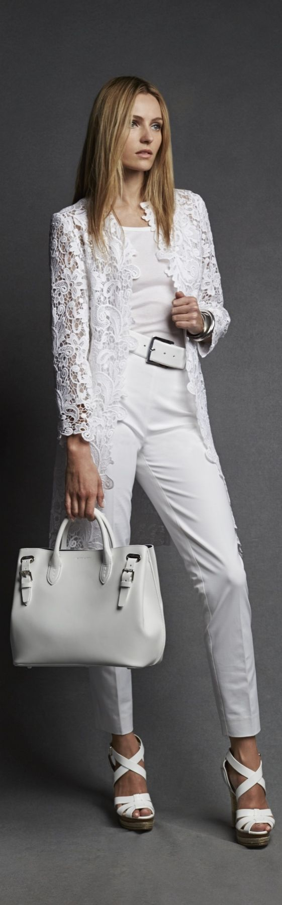 Ralph Lauren Black Label\u0026#39;s white lace Thora coat exudes gilded glamour. Via @esusansmith.
