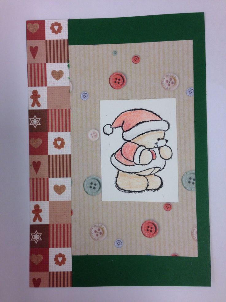 Christmas card with stamped teddy Kraft notes