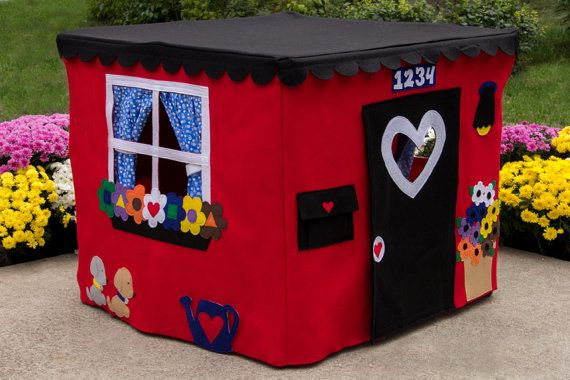 Card Table Playhouse Play Tent Fort Red Double by missprettypretty, $230.00