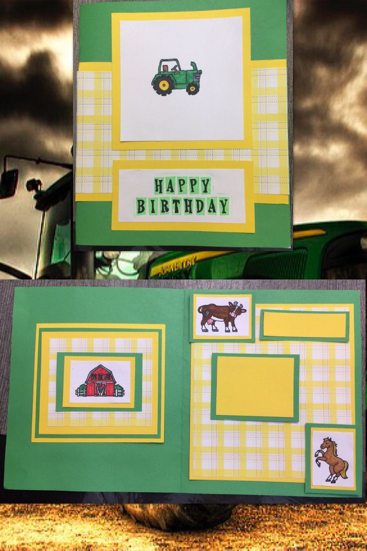 John Deere Tractor Scrapbook Birthday Card