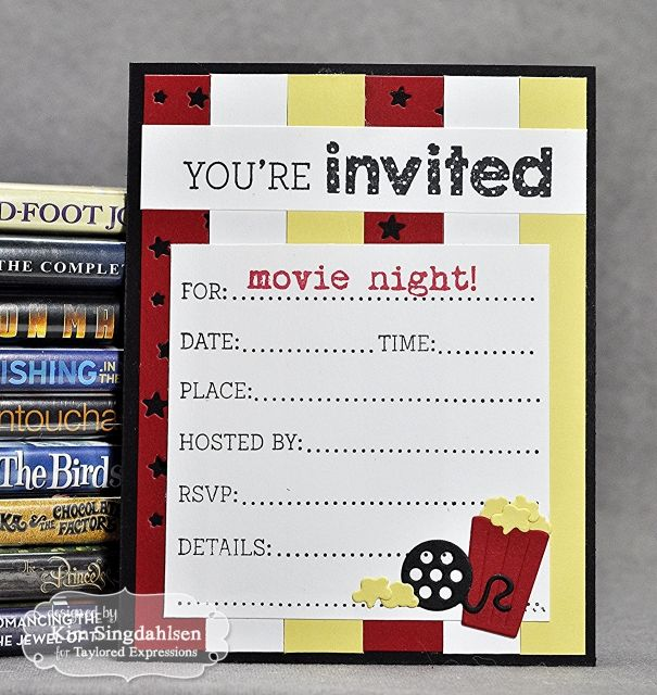 67 best cards invitations images on pinterest invitation cards movie night invite card by kim singdahlsen cardmaking invitations cuttingplates stopboris Choice Image