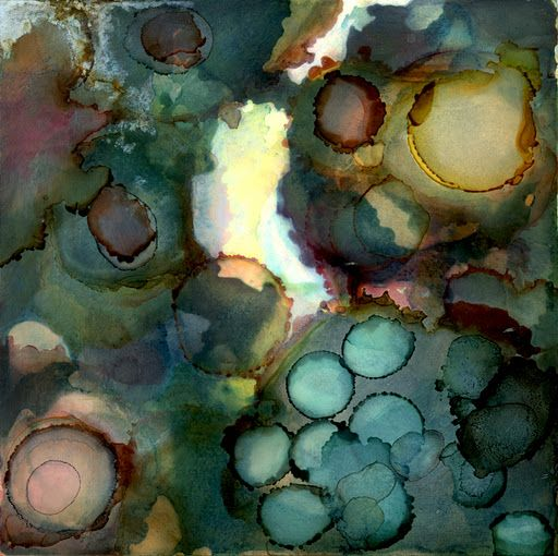 by Andrea Pramuk (Alcohol inks and encaustic on clayboard)