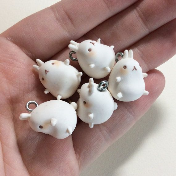 Molang polymer clay charm - handmade kawaii Korean pig rabbit character - cute charms for jewely, planner, phone charm, keychain