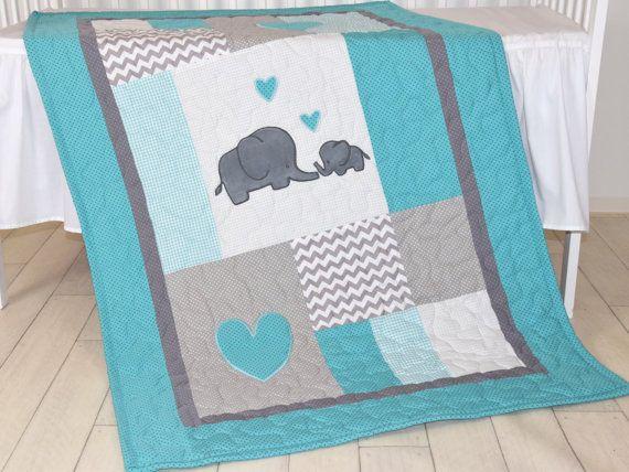 Elefante bebé manta gris y azul turquesa Chevron manta ropa