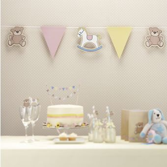 Beautiful Paper bunting with 14 assorted flags, Rocking horses, teddies and pastel coloured flags to drape and decorate your babies special event. Great for baby showers, first birthday parties or even just to decorate a babies room.<br><br>The Bunting is 3.5m long.