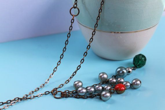 Art Deco Cluster Necklace Up-cycled Vintage by comeandplaybetsymay