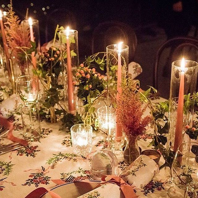 Spotted in @britishvogue...Candle Hurricanes by @floraldesignsolutions and gorgeous florals by Fiona Leahy.  #candlehurricanes #nomoreopenflames