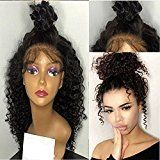 Freyja Hair 8A Unprocessed Peruvian Full Lace Human Hair Wigs Kinky Curly 180% Density Lace Virgin Hair Wigs with Baby Hair for Black Women (14 inch ,1B)